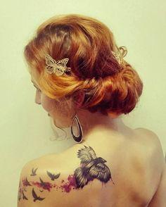 #newhair #newtattoo #myraven #czech #czechgirl Raven tattoo watercolor idea!