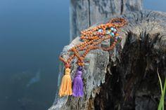 Spiritual One Mini Mala (6mm Rudraksha beads and Amethyst, Turquoise, Red jade, Yellow Quartz marker and guru beads) by Goodkarmacrafts1 on Etsy https://www.etsy.com/listing/247651757/spiritual-one-mini-mala-6mm-rudraksha