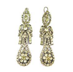 - Pair of 18th century chrysolite openwork cluster drop earrings, Iberian c.1770,
