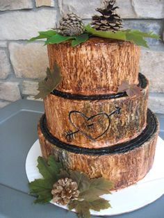 Tree trunk cake for all the LOGGERS This one goes out to my Hubby Blake ;)