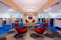 Coalesse Bob Lounge Chairs create an office lounge the encourages collaboration.