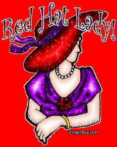 Red Hat Lady Glitter Glitter Graphic, Greeting, Comment, Meme or GIF Red Hat Club, Red Purple, Purple Dress, Red Hat Ladies, Wearing Purple, Red Hat Society, Hat Crafts, Simply Red, Glitter Graphics