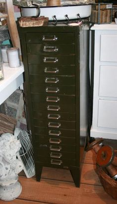 Tall Vintage Metal Cabinet, found on our recent vintage buying trip! Kinda want to keep it :)