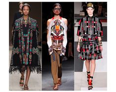 Tribal, hints of folklore, embroidery, graphic prints. Valentino, Givenchy and Alexander McQueen.