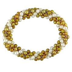 Multiple Row Fresh Water Gold and White Pearl Elastic Bracelet (4-5 mm) Amour. $16.00. Save 73% Off!