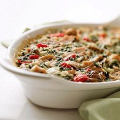 Turkey-Vegetable Bake-Rice and veggies combine with turkey for a yummy, protein-packed casserole. This creamy main dish gives leftovers a good name. Chicken And Vegetable Bake, Vegetable Casserole, Chicken Casserole, Veggie Bake, Turkey Casserole, Spinach Casserole, Rice Casserole, Diabetic Casserole Recipe, Casserole Recipes