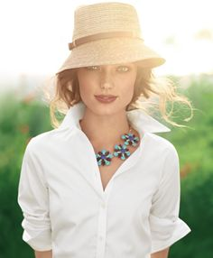 Easy Breezy Summer Style: Fedora and White shirt  with statement necklace from Banana Republic
