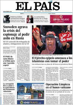 Los Titulares y Portadas de Noticias Destacadas Españolas del 2 de Julio de 2013 del Diario El País ¿Que le parecio esta Portada de este Diario Español?