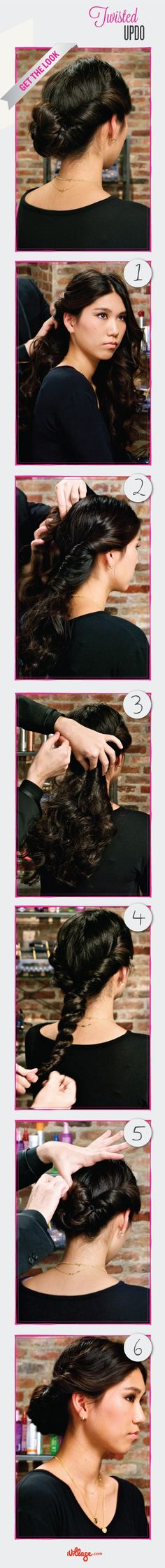 #DIY #Hairstyles: Easy Step-by-Step Hair Tutorials: Twisted #Updo - iVillage http://www.ivillage.com/diy-twisted-updo/5-h-478272