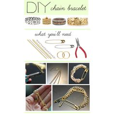 """""""DIY: Chain Bracelet"""" by polyvore-editorial on Polyvore. I like the safety pin idea for a clasp."""