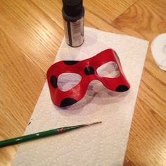 Progress on my Miraculous Ladybug mask! Just Worbla, gesso, and paint! I molded it to my face so some spirit gum or you're tape should be all I need to keep it attached!