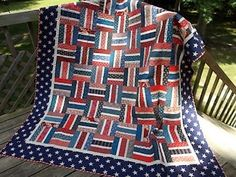 pieceful kwilter created this Red, White, & Blue quilt using Keepsake Quilting's RW jelly rolls and their free Basket Weave pattern.  She added additional reds to stretch & add more blocks.