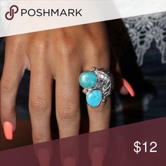 Turquoise statement ring This beautiful turquoise ring is quite a statement piece. It's also adjustable so can be worn wherever depending on your mood! Jewelry Rings