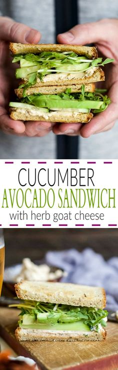 This heart healthy CUCUMBER AVOCADO SANDWICH slathered with an Herb Goat Cheese is the perfect lunch or quick dinner recipe. Believe me, you're gonna be in love!   joyfulhealthyeats.com