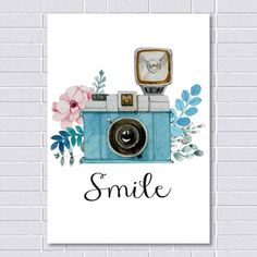 Smile Print, Vintage Print, Camera Print, Watercolor Print, inspirational quote … - Techno World Camera Painting, Camera Drawing, Camera Art, Painting & Drawing, Drawing Drawing, Pencil Art Drawings, Art Drawings Sketches, Watercolor Print, Watercolor Paintings