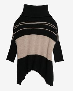 360 Cashmere Colorblock Stripe Turtleneck