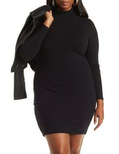 Plus Size Long Sleeve Turtleneck Dress #CharlotteLook #Plus #PlusFashion