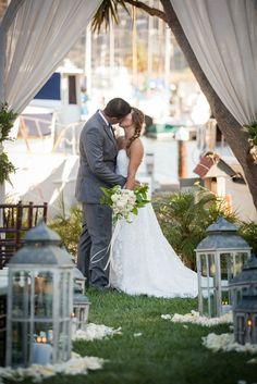 Bayside Wedding Ceremony. Elegant Gray Blue Nautical Wedding by Rachel Capil Photography and Lindsay Lauren Events