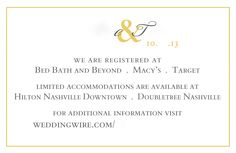 Wedding information card with gold colors. Name and details removed.
