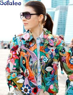 Items similar to Women's real genuine leather jacket handmade embroidery flowers crystals jacket coat. Blazers For Women, Jackets For Women, Clothes For Women, Women's Clothes, 70s Fashion, Skirt Fashion, Leather Embroidery, Tropical Outfit, Leder Outfits