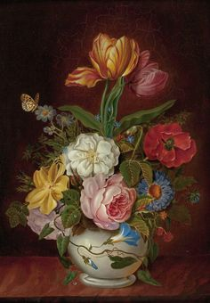colorful flowers DIY oil painting by Numbers Hand-painted digital wall decor painting for living room unique art Botanical Art, Botanical Illustration, Martin Johnson Heade, Paisley Art, Hudson River School, Cuban Art, Beautiful Flowers Wallpapers, Vintage Flowers, Artist Art