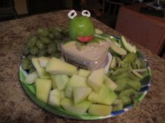 Kermit fruit dip with 'It's Not Easy Being Green' fruit~ perfect for a Muppet movie night!
