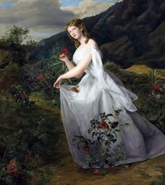 """Ferdinand Georg Waldmuller (1793-1865) - young lady in a white dress"""""""
