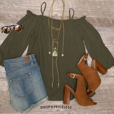 - Details - Size Guide - Model Stats - Contact Can't help falling in love with this Elvia Off The Shoulder Top in olive! Features a lightweight, chiffon-knit fabric with minimal stretch. Straight neck