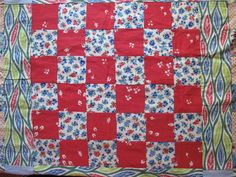 Details of a vintage 36 patch quilt top sold on Ebay by evintage.