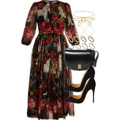 A fashion look from September 2017 featuring Dolce&Gabbana dresses, Christian Louboutin pumps and Victoria Beckham shoulder bags. Browse and shop related looks.