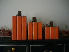 Primitive wood pumpkins fall wood decor chunk thick country shelf mantle decor.