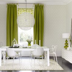 Green And White Dining Room Bold Graphic Prints Add A Retro Flavour To This