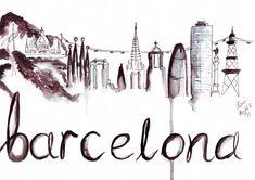 Titel: Barcelona Skyline Abbildung Info: Aquarell-Abbildung auf die erstaunliche Barcelona Skyline... von den magischen Brunnen mit der Statue