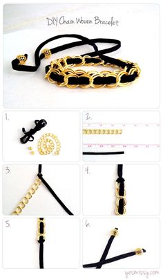 Jewelry DIY: Suede and Chain Bracelet - DIY Chain Woven Bracelet You are in the right place about jewelry poster Here we offer you the most - Diy Schmuck, Schmuck Design, Jewelry Crafts, Handmade Jewelry, Boho Jewellery, Beaded Crafts, Woven Bracelets, Diy Bracelet, Bracelet Tutorial