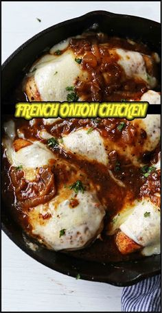 FRENCH ONION CHICKEN | Share Skillet Chicken, Garlic Chicken, French Onion Chicken, Onion Gravy, 30 Minute Meals, Melted Cheese, Caramelized Onions, Fresh Herbs, Chicken Recipes