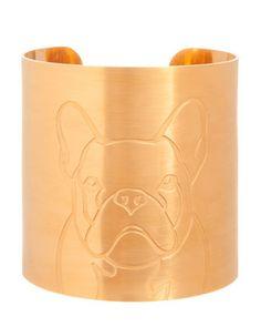 K Kane 18k Gold-Plated French Bulldog Dog Cuff - Neiman Marcus