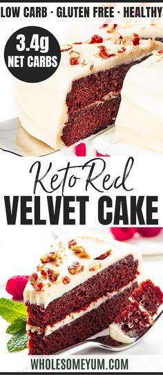 Keto Red Velvet Cake Recipe - This keto red velvet cake recipe is so moist and rich, you won't believe it has 3.4g net carbs per slice! Sugar-free low carb red velvet cake is naturally colored and ready in an hour. #wholesomeyum #keto #redvelvet #ketocake #ketodessert #ketorecipes Low Carb Sweets, Low Carb Desserts, Low Carb Recipes, Sweet Recipes, Real Food Recipes, Cake Recipes, Dessert Recipes, Chocolate Deserts, Keto Chocolate Cake