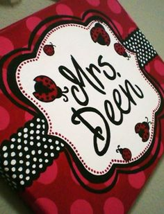 Red, Black, and White Lady Bug Polka Dot Name Sign for Teachers, Nurseries, Dorm Rooms and More