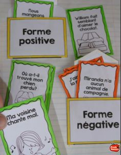 Formes positive et négative: Cahier interactif French Conversation, French Education, French Resources, French Class, Classroom Language, School Games, Thing 1, Positive And Negative, Teaching French