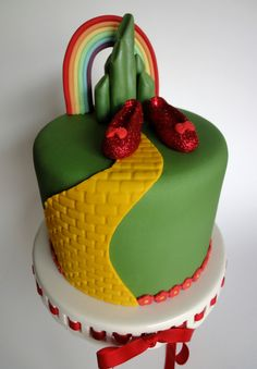 Wizard of Oz Cake —  Maybe do three tiered with road and flower border and this be on top.