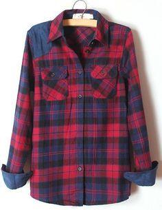 Blue Lapel Long Sleeve Plaid Pockets Shirt - Sheinside.com