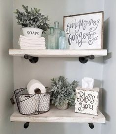 50 Awesome Industrial Farmhouse Design Ideas to Complement Y.- 50 Awesome Industrial Farmhouse Design Ideas to Complement Your Home In 2019 Badezimmer - Home Design, Interior Design, Bath Design, Downstairs Bathroom, Bathroom Shelf Decor, Farmhouse Decor Bathroom, Bathroom Shelves Over Toilet, Rustic Bathroom Shelves, Farm House Bathroom Decor
