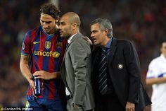Jose Mourinho (right) and Pep Guardiola (centre) will renew their rivalry as the managers of Manchester clubs