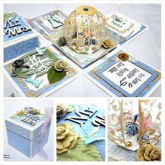 Totoro themed wedding explosion box. Color combination of blue, sea green, pearl white and gold. #papercraft #paper #cardmaking #card #handmadecard #handmade #explodingbox #explosionbox #bellaelysiumcrafts #totoro #sgcrafts #artwork