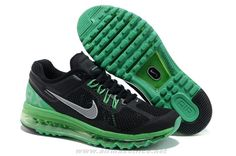 Mens Shoes 554886-107 Nike Air Max 2014 Black New Green Silver