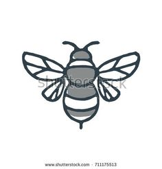 Bumblebee Bee Icon by patrimonio on Mono line icon style illustration of a bumblebee or bumble bee, a member of the genus Bombus, part of Apidae on isolated white background. Cute Little Drawings, Easy Drawings, Pencil Illustration, Graphic Illustration, Retro Illustrations, Bumblebee Drawing, Bee Sketch, Bee Icon, Bumble Bee Tattoo