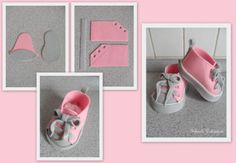 how to make baby shoes for a birth announcement, baby shower or christening cake from fondant decoration tips tricks Fondant Flower Cake, Fondant Bow, Fondant Toppers, Fondant Cakes, Cupcake Cakes, Car Cakes, Fondant Tips, Shoe Cakes, Cake Decorating Techniques