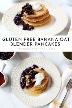 These ultra tender banana oat pancakes are easy to make in a blender or Vitamix! The healthy pancakes are naturally sweetened and gluten free, perfect for breakfasts and brunches. Gluten Free Recipes For Breakfast, Delicious Breakfast Recipes, Gluten Free Breakfasts, Banana Oat Pancakes, Banana Oats, No Bake Oatmeal Bars, Gluten Free Banana, Cooking For A Crowd, Some Recipe