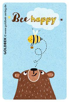 Postkarten - Bär. Handgezeichnete Illustrationen. Bee happy.