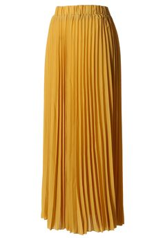 Chiffon Mustard Pleated Maxi Skirt - Skirt - Bottoms - Retro, Indie and Unique Fashion Skirt Outfits, Dress Skirt, Dress Up, Unique Fashion, Love Fashion, Fashion Design, Womens Fashion, Fashion 101, Affordable Fashion